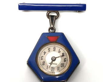 Art Deco Blue Enamel Watch Brooch Pendant