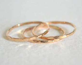 Set of Three Gold Filled Rings, Stacking Ring, Dainty Ring, Stackable Ring, Hammered Stacking Rings