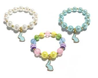 Small Beaded Blue Bunny Charm Bracelet - Pastel Rainbow Bunny Bracelet - Easter Bracelet - Blue and Gold Bunny Bracelet - Blue and White