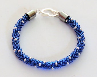 Kumihimo bracelet blue and silver coloured
