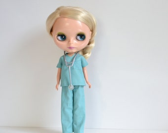 Reserved for Xennovia Custom Blythe - Sassy Scrubs for Doll Hospital Doctor or Nurse