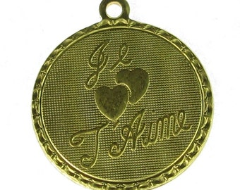 Je t'aime Brass Charms French Charms 19mm 655 - 6 Pieces