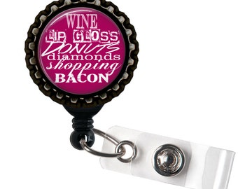 Wine and Lipgloss - Black Retractable Badge Reel ID Holder