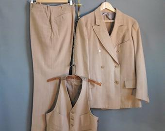 true 1920s men's chalk stripe three piece suit, 1920s suit, 1920s menswear, 1920s wool suit, size 40L or 40R