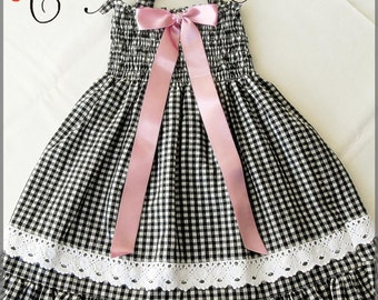 Black and white checkered dress for girls, black and white plaid dress for girls, Black-White ruched dress,  Black gingham dress