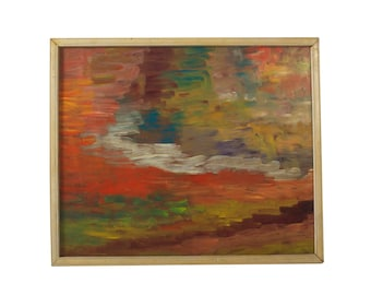 Abstract Painting Original Artwork Mid Century Oil Painting Impressionistic Art