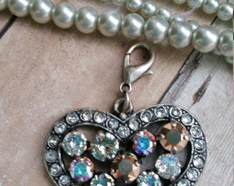 Swarovski Crystal Heart pendant - designer inspired - lobster clasp - makes it detachable - rose gold & silk crystals - antique silver