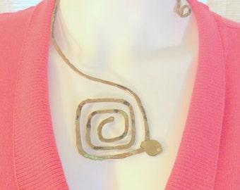 Open Sided Sacred Spiral Necklace. Hammered Copper. Square.Original Design. Oxidized & Verdigris finish. free US ship 65.00 ea