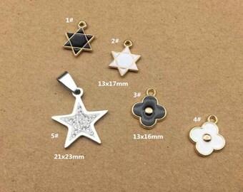 10PCS, Enamel Charm, Star Charm, Flower Charm, White Star Pendant, Jewelry Charm, Craft Supplies, Gold Tone