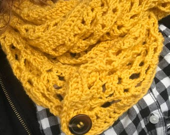 Mustard Yellow infinity scarf with wooden button