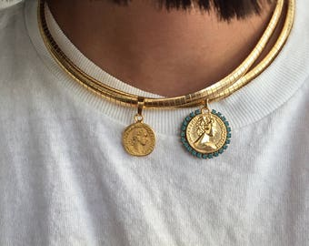 Wide gold necklace Gold coin necklace Gold medallion necklace wide flat gold chain gold choker statement gold necklace Gold Greece coin