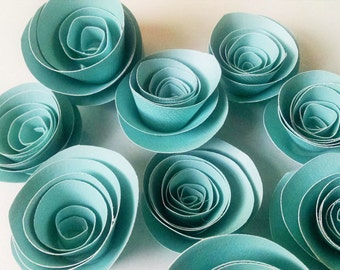 Blue Easter Decor, Paper Flowers, Spring Table Decoration