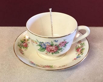 TEACUP CANDLE with SAUCER - Soy Candle - Homemade Candle - Decorative Candle - Pick Your Scent - Pick Your Color - Natural Candle