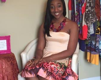Beautiful tan flower print strapless dress