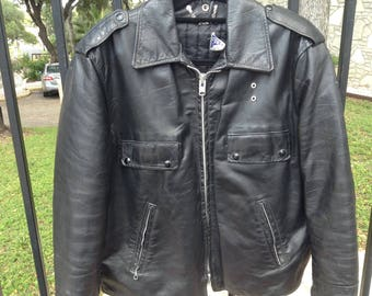 Vintage men's leather motorcycle jacket