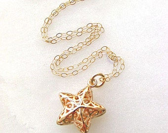 Star charm necklace, delicate chain necklace, gift for her, dainty necklace, 14K gold filled chain, vintage 24K gold filled star pendant