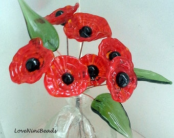 Poppy Red Headpins