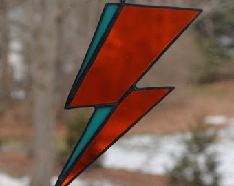 Stained Glass David Bowie Album Art Inspired Lightening Bolt Sun Catcher