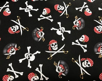 BTY Pirate Skulls Fabric, 100% Cotton Fabric, Crossbones & Swords Fabric, Fabric By The Yard