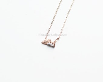 Rose Gold Mountain layered Necklace, Dainty Mountain Necklace, two tone Mountain Necklace, Mountain Charm, Nature Jewelry, gift ideas