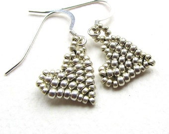 Beaded Heart Earrings, Metallic Silver Colour Seed Beads Handstitched