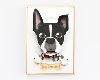 """Boston Terrier Custom Portrait. 5"""" x 7"""" Paper Pet Portrait. Custom Dog Portrait. Gift for Pet Lover. Boston Terrier Illustration. Dog Art."""