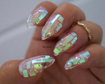 Shattered Glass Nails, Nail designs, Nail art, Nails, Stiletto nails, False nails, Acrylic nails, Pointy nails, Fake nails, press on nails