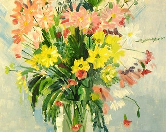 4 X Flower Paintings printed in brilliant colours on good qualitycard