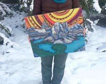 "Art Print on Wood – Mountain Love – Your Choice – 16"" x 20"" OR 24"" x 32""– Colourful – Ha Ling – Assiniboine – Moraine Lake – Pond Hockey"