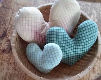 Vintage Primitive Basket w/3 Gingham Primitive Heart Pillows