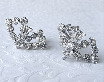 Elegant Keystone Bow Rhinestone Dangle Clip Back Chic Wedding Vintage Bridal Jewelry Pageant Ballroom Costume Accessory Formal Evening Prom