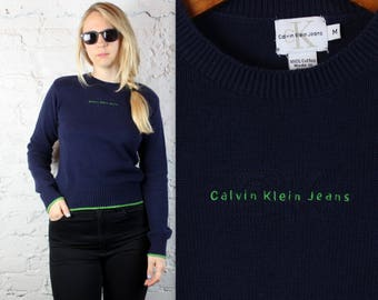 90's Calvin Klein Knit Sweater in Navy and Green Women's Small or Medium . 1990s Preppy Pullover CK Jeans