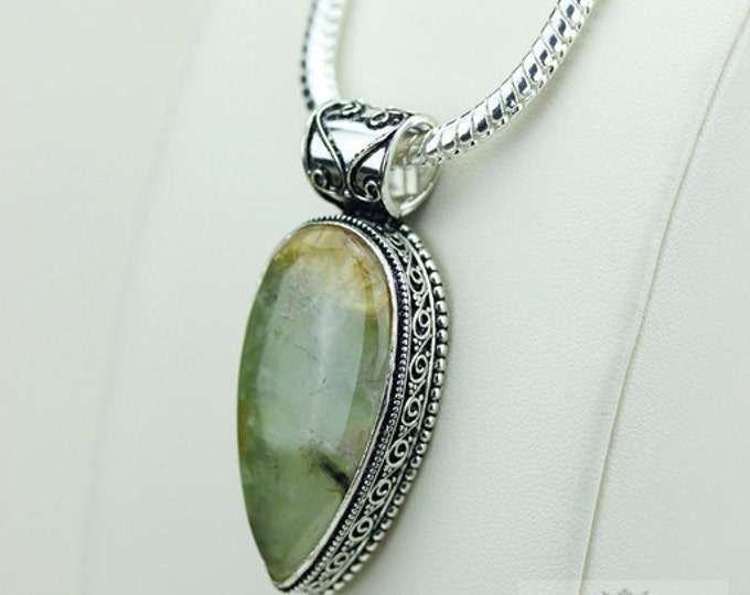 South African Prehnite Vintage Filigree Setting 925 S0LID Sterling Silver Pendant + 4mm Snake Chain & FREE Shipping p3267