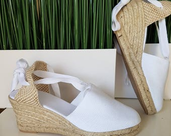 Lace Up ESPADRILLE WEDGES (7cm-2.76i) - WHITE - Made In Spain - www.mumico.es