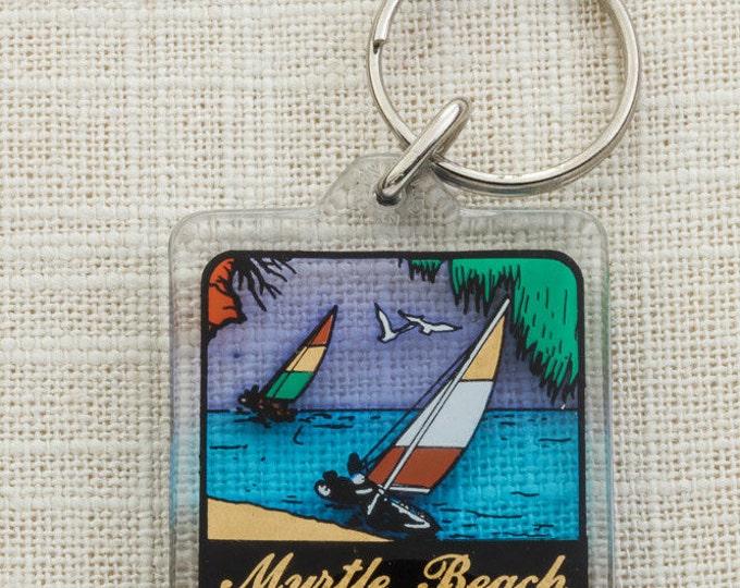 Vintage Myrtle Beach South Carolina Keychain SC Sailboat Wind Surfing Key FOB Key Chain 16U