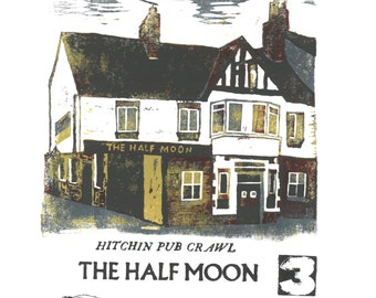 Hitchin Half Moon Pub Lino and Letterpress Print- Poster