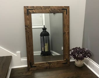 ESPRESSO Mirror, Wood Frame Mirror, Rustic Wood Mirror, Bathroom Mirror, Wall Mirror, Vanity Mirror, Small Mirror, Large Mirror, Gift