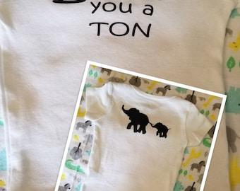 I love you a ton elephant decal onesie