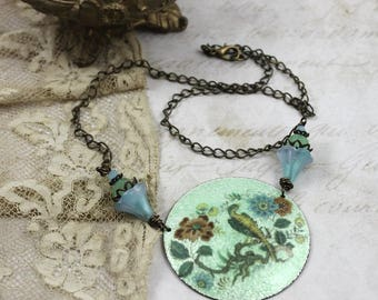 Asian Enamel Assemblage Necklace, Asian Bird Necklace, Vintage Assemblage Asian Necklace, Hand Painted Enamel Necklace, Cloisonne Necklace