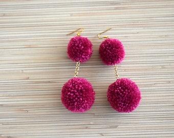 Pom Pom Earrings Mulberry Purple Pom Pom Earrings Long Pom Pom Earrings Boho Earrings Statement Earrings