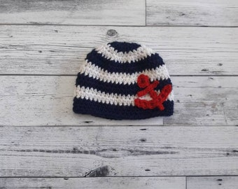 Baby anchor hat, nautical hat, newborn nautical photo prop, kids nautical hat anchor beanie, sailor baby hat, nautical baby hat, photo prop