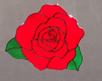 Stained Glass Red Rose Suncatcher