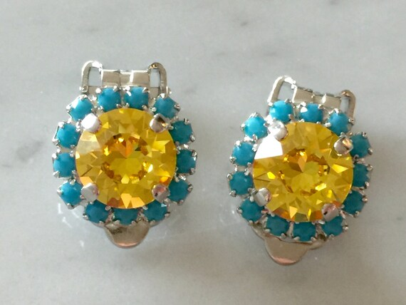 Light Topaz & Turquoise Crystal Clip On Earrings, Silver