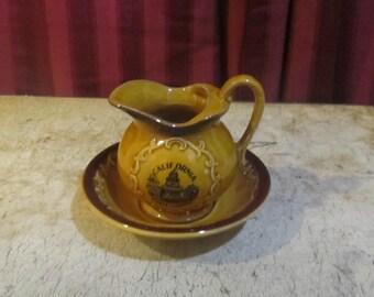 Small honey color ceramic basin bowl pitcher set
