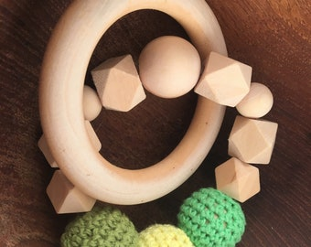 Handmade Organic Wooden Teething Rattle