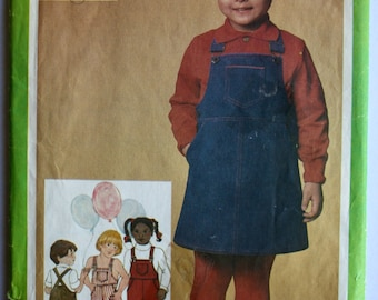 Vintage 1980s Childrens Overalls: Pants, Shorts, and Jumper Sewing Pattern Size 4 Simplicity 9722