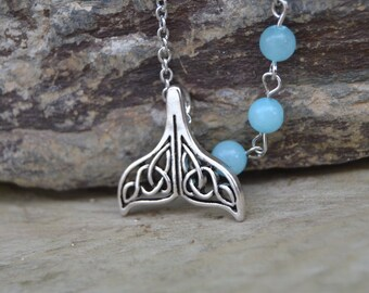 Celtic Silver whale tail necklace, mermaid necklace amazonite necklace, celtic style mermaid tail necklace, whale jewelry sea jewelry