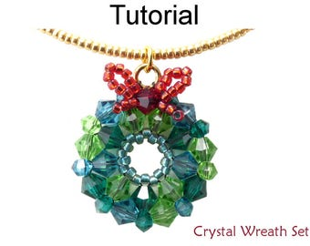 Christmas Beading Pattern Tutorial - Holiday Jewelry Making - Simple Bead Patterns - Crystal Wreath Set #20904