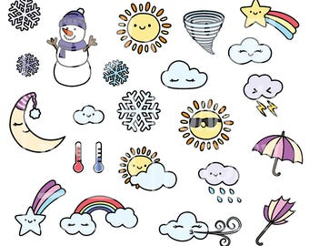 Doodle Weather Clipart. Kawaii and No Kawaii. Personal and comercial use.