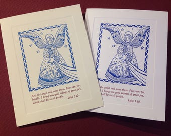 Letterpress Christmas Cards Luke 2:10 - Set of 10 cards with matching envelopes